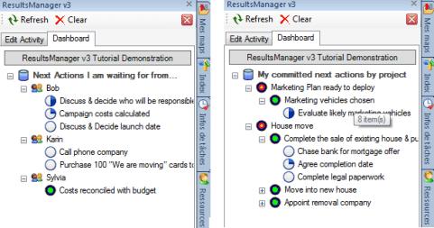To-do lists dans le volet des tâches ResultsManager